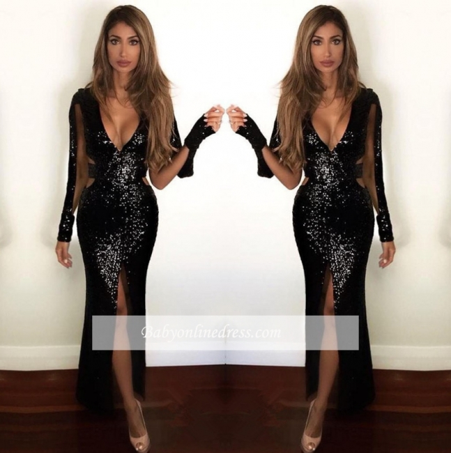 Split Front Black Sexy Sequined Prom Dresses