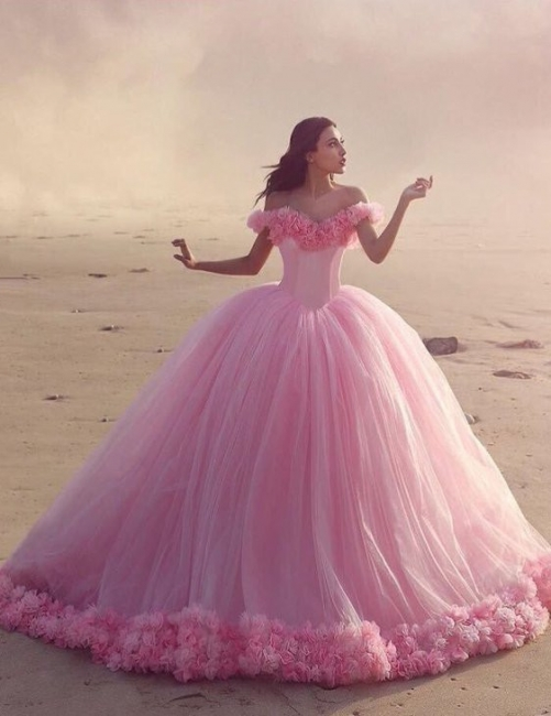Pink Cloud Wedding Dresses Off the Shoulder Flowers Fairy Ball Gown Bridal Gowns
