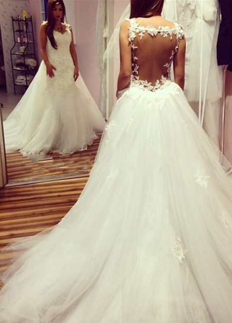 Elegant Mermaid Backless Wedding Dresses | Lace Appliques With Detachable Train