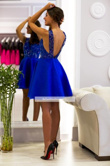 2018 Scoop-Neck V-back Royal-Blue Cute Short Prom Dress