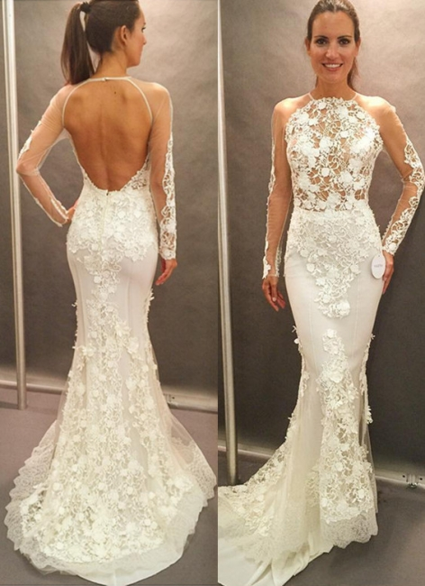 Appliques Lace Open Back Glamorous Mermaid Wedding Dresses with  Long Sleeves