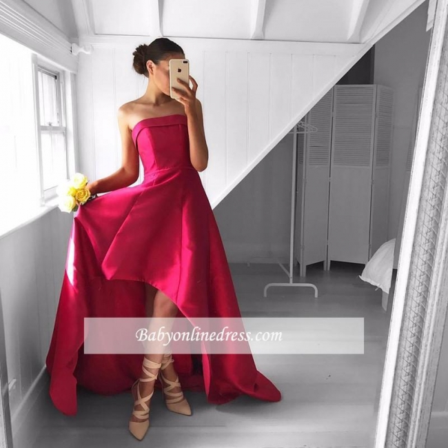 Newest Sleeveless Strapless Prom Dress Hi-Lo Red Sweep-Train Evening Gowns