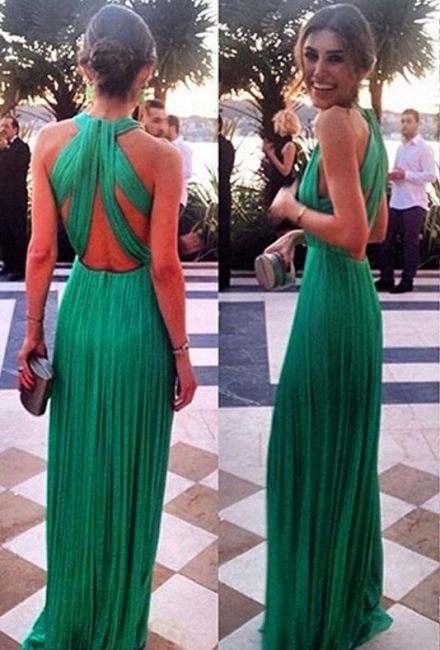 Green Chiffon Prom Dresses Ruched Sexy Back Long Evening Gowns
