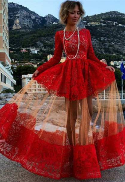 Red Long Prom Dresses Long Sleeves Puffy Illusion Skirt Gorgeous Evening Gowns
