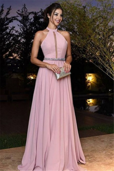 Sexy A-Line Chiffon Crystal Halter Pink Prom Dresses 2018