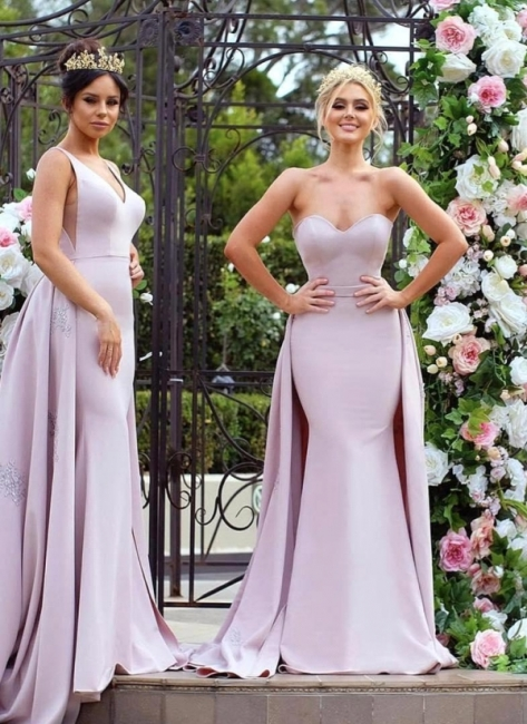 New Mermaid Bridesmaid Dresses | Long Sleeves Wedding Party Dresses with Overskirt