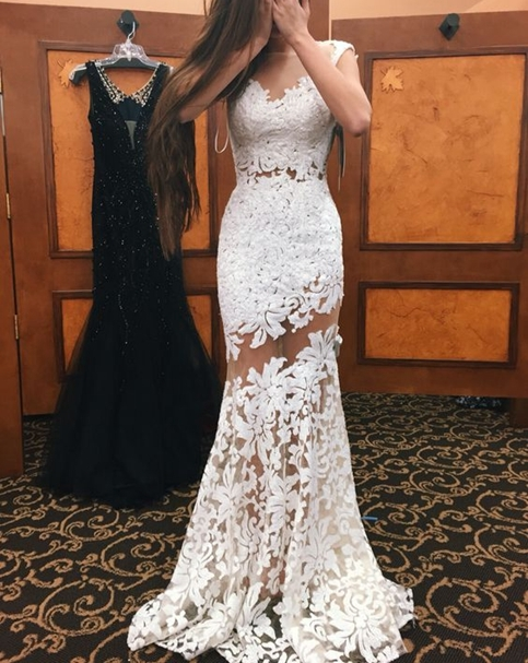 White Mermaid Prom Dresses Sheer Neckline Sexy Evening Gowns
