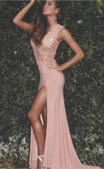 Sexy Lace Chiffon Prom Dresses 2018 Split Floor Length Sleeveless