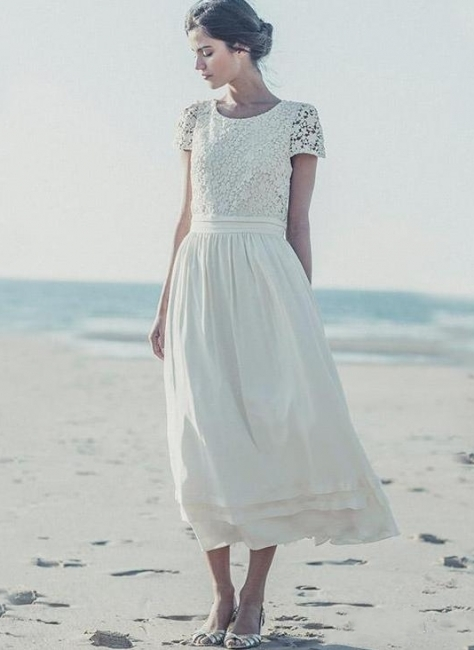 Tea Length Wedding Dresses Boho Lace Top Short Sleeves Layered A-line Bridal Gowns