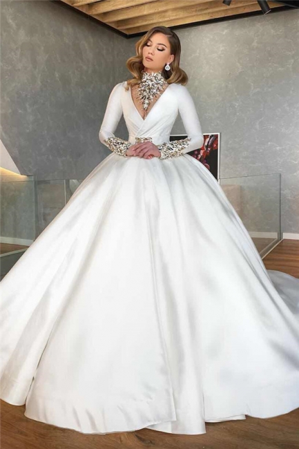 Vintage Ball Gown Wedding Dresses Cheap | Satin Bridal Dresses with Sleeves