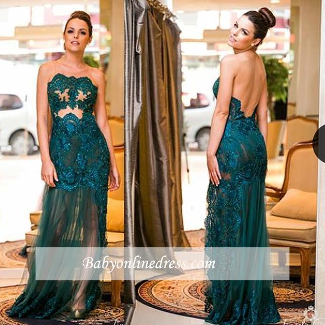 Elegant Dark Green Sleeveless Prom Dresses Scoop Floor-length Evening Gown