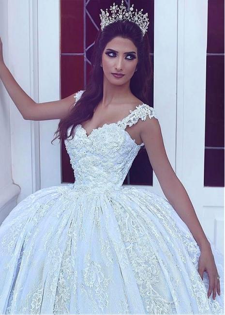 Elegant Ball-Gown Sleevesless Sweetheart Flowers Lace Wedding Dresses