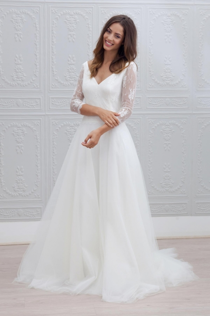 Backless V-neck A-line Simple Sweep Train Wedding Dresses