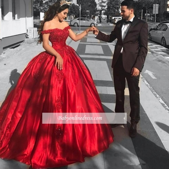 Red Gown Ball Off-the-Shoulder Evening Dress