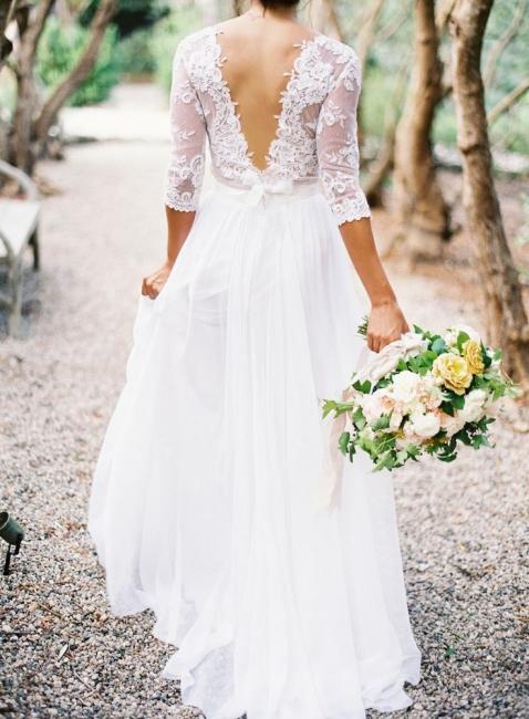 A-line Wedding Dresses Lace Top 3/4 Long Sleeves V Neck Open Back Elegant Bridal Gowns