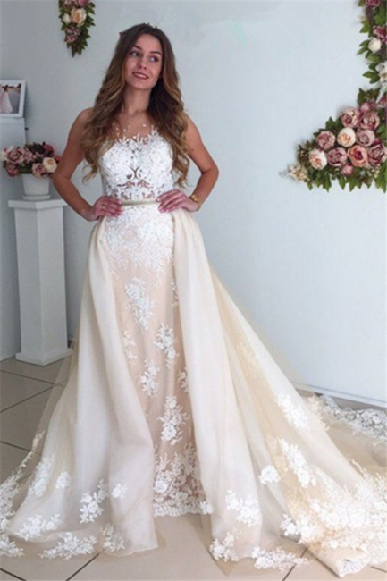 Gorgeous Detachable-Cathedral-Train Mermaid Lace Tulle Ivory Wedding Dresses