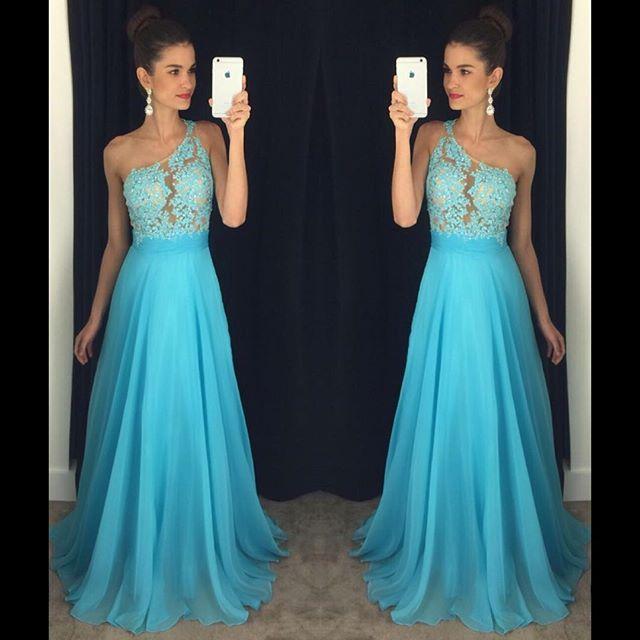 One-Shoulder A-line Lace Appliques Gorgeous Prom Dresses