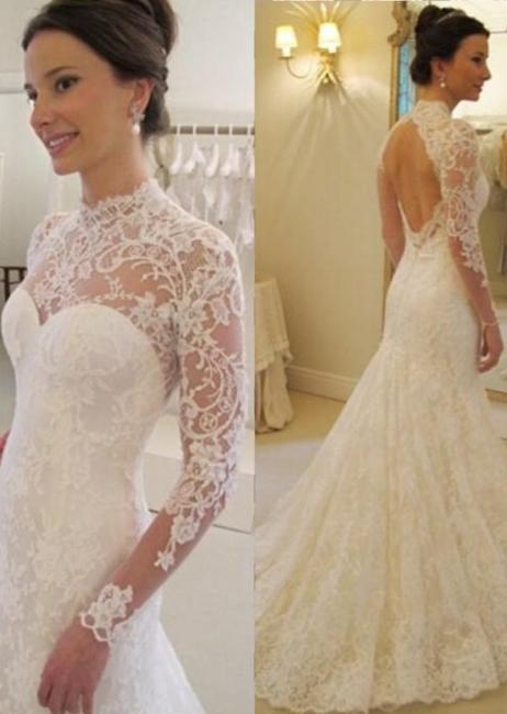 Backless Long Sleeves Elegant Lace Sweep Train Mermaid Wedding Dress