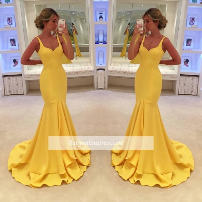 Simple Yellow Mermaid Tiered Spaghetti-Straps Prom Dress