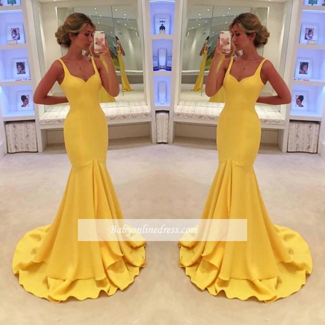 Simple Yellow Mermaid Tiered Spaghetti-Straps Prom Dress