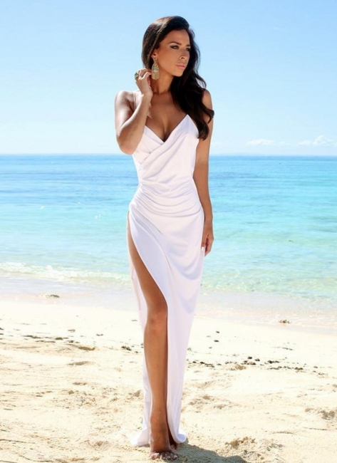 Sexy Summer Wedding Dresses Spaghettis Straps High Side Slit Backless Beach Party Dress