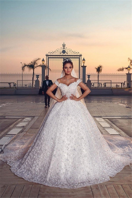 Off the Shoulder Sweetheart Ball Gown Exquisite Lace Wedding Dresses