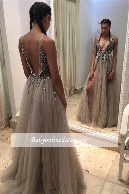 Sexy Deep V-neck Crystals Front Slit Open Back Tulle Prom Dresses with Beadings