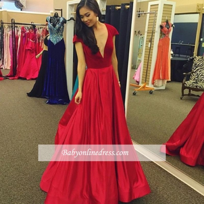 Sexy Red Cap-Sleeves A-Line Deep V-Neck Party Gowns Velvet Prom Dress