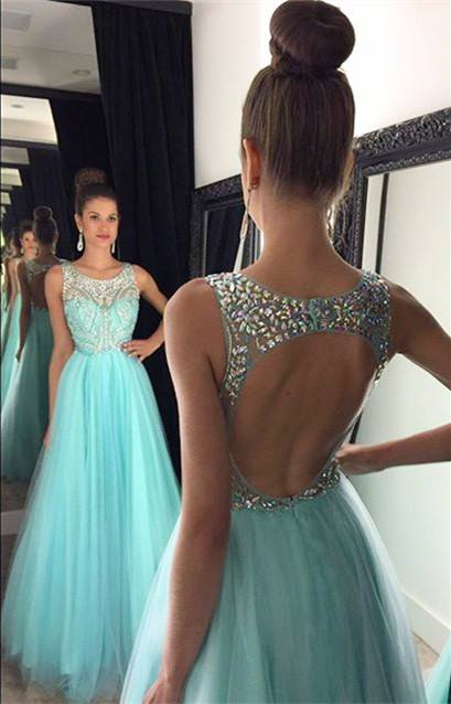 Baby Blue Prom Dresses Rhinestones Beaded Backless Long Luxury Evening Gowns