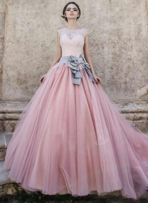 Pink Lace Capped Sleeves Bridal Gowns Ball-Gown Wedding Dress with Bowknot