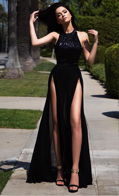 Black Long Prom Dresses Thigh-High Slits Sexy Summer Party Gowns
