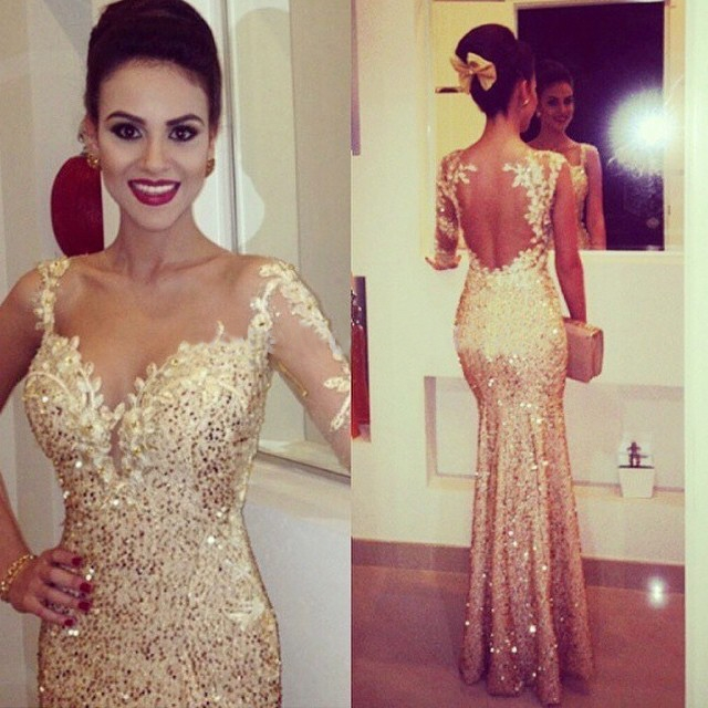 Gorgrous Sequined Appliques Mermaid Prom Dresses Gold Beaded Evening Gowns