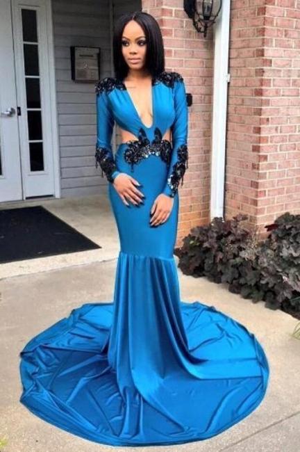 Sexy Deep V-Neck Prom Dresses | Long Sleeves Mermaid Evening Dresses