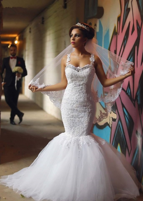 Elegant Mermaid Lace Wedding Dresses | Spaghettis Beaded Tulle Bride Gowns