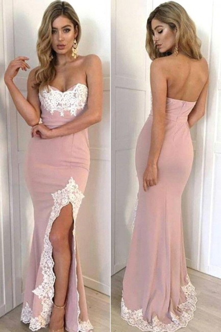 Split Appliques Mermaid Lace Gorgeous Sweetheart Long Prom Dress 2018