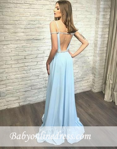 Blue Backless Stylish Long V-neck Evening Dress