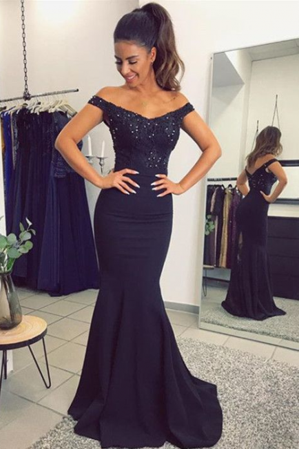 2018 Mermaid Prom Dresses Appliques Beaded Open Back Evening Gown