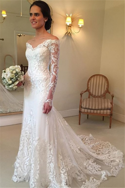 Off-the-shoulder Wedding Dresses | V-neck Long Sleeves Lace Bridal Gowns