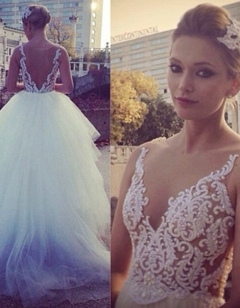 V Neck Sheer Appliques Pearls Beaded Tiers Tulle Ball Gown Wedding Dresses
