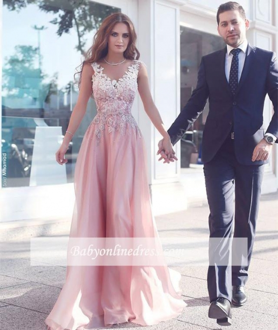 Pink A-Line Appliques Prom Dresses Floor-Length Sleeveless Evening Gowns