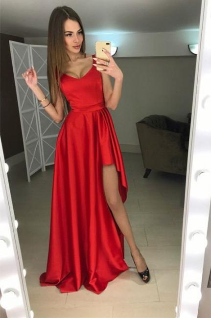 Scoop Modern Red Sleeveless A-line Hi-Lo Prom Dress