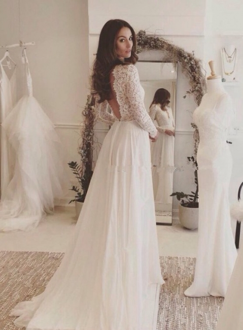 Sexy Chiffon Long-Sleeves Lace V-neck Wedding Dresses