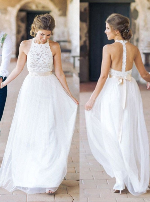 Floor Length Lace Halter A-line Sashes Simple White Wedding Dresses
