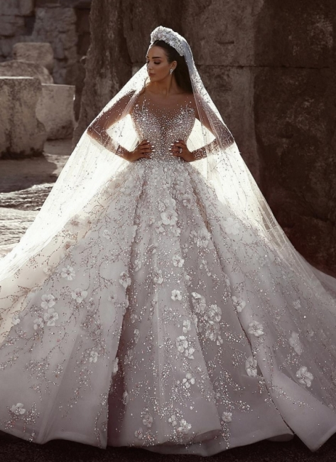 Gorgeous Long Sleeve Lace  Ball Gown Wedding Dress | Crystal Princess Bridal  Gown