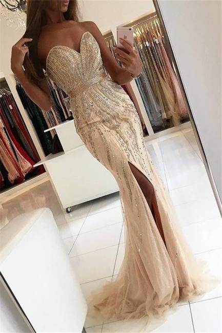 Floor-length Split Strapless Sweetheart Crystal Beads Mermaid Evening Dresses