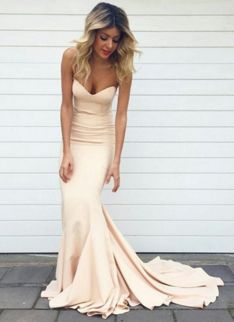 Simple Mermaid Prom Dresses Nude Color Sweetheart Neck Evening Gowns