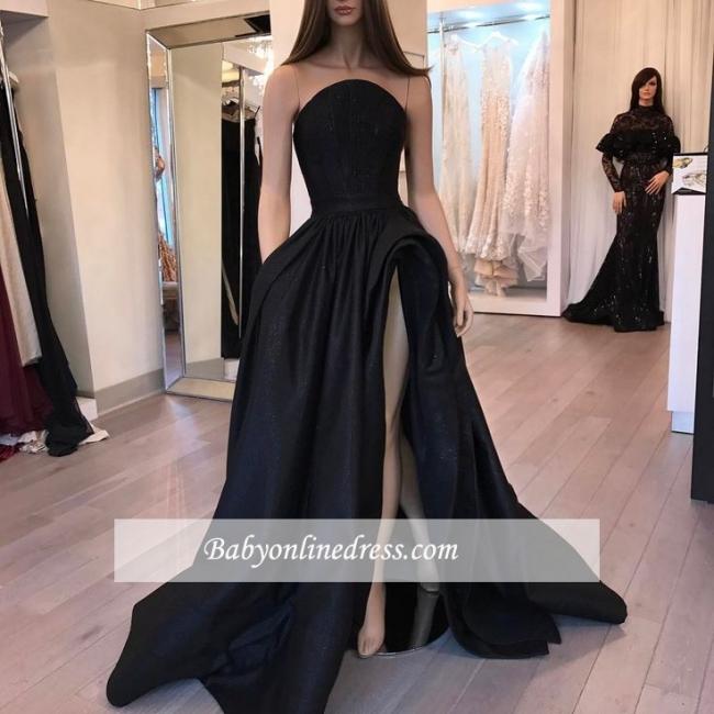 Stylish Slit Strapless Prom Dresses Designer Sleeveless Black Sexy Belt Evening Dresses