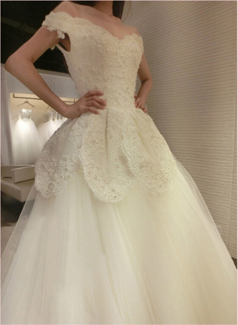 Newest Long Train Tulle Lace-Appliques Off-the-shoulder Beads Wedding Dress