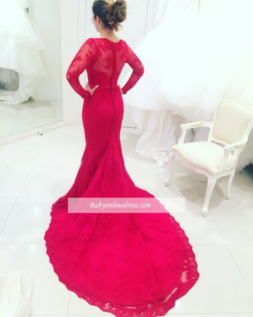 Long-Sleeves Mermaid Appliques Lace Long-Train Red High-Neck Evening Dresses