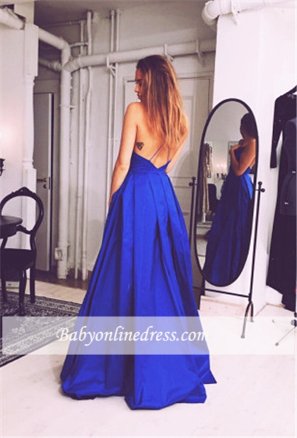 Royal Blue Spaghetti Straps A-Line Evening Dresses Open Back Prom Dresses